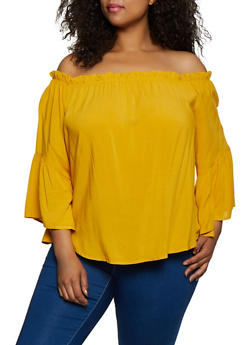 Plus Size Bell Sleeve Off the Shoulder Top | 3803058750485 - 3803058750485