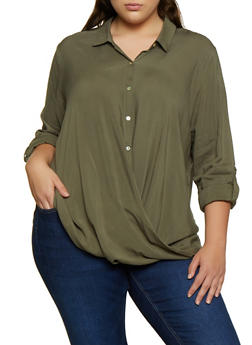 Plus Size Long Sleeve Twist Front Shirt - 3803058750685