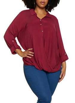 Plus Size Long Sleeve Twist Front Shirt - 3803058750685