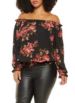 Plus Size Floral Off the Shoulder Top - 3803058750740