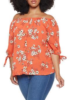 Plus Size Floral Off the Shoulder Top - 3803058750901