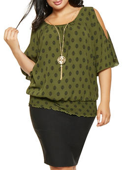 Plus Size Printed Slit Sleeve Top - 3803058751002