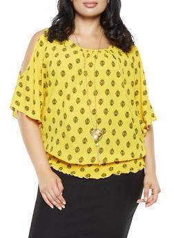 Plus Size Printed Slit Sleeve Top - 3803058751002