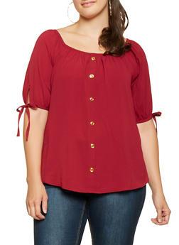 Plus Size Crepe Knit Off the Shoulder Top - 3803058751015