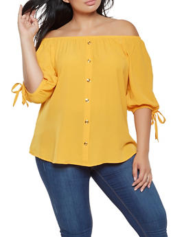 Plus Size Crepe Knit Off the Shoulder Top - 3803058751015