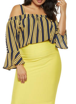 Plus Size Striped Off the Shoulder Top - 3803058751103
