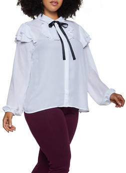 Plus Size Ruffled Tie Neck Button Front Blouse - 3803058751186