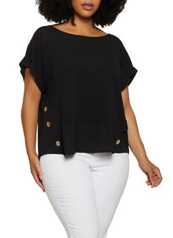 Plus Size Button Detail Crepe Knit Blouse - 3803058751240