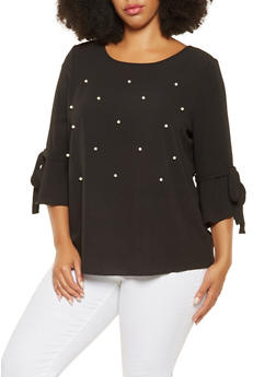 Plus Size Faux Pearl Studded Top - 3803058751351