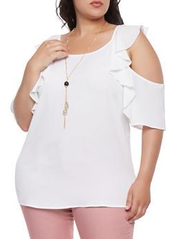 Plus Size Crepe Knit Ruffle Cold Shoulder Top - 3803058751604