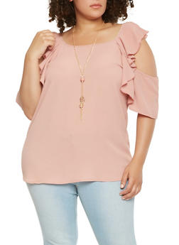 Plus Size Crepe Knit Ruffle Cold Shoulder Top - 3803058751604