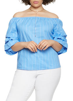 Plus Size Striped Off the Shoulder Top - 3803058751605