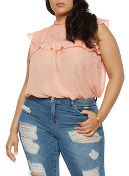Plus Size Shimmer Swiss Dot Top - 3803058751609