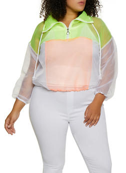 Plus Size Color Block Organza Windbreaker - 3803058751846