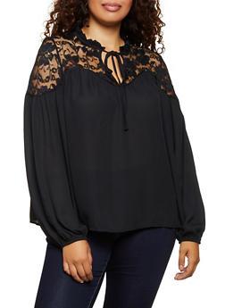 Plus Size Lace Yoke Blouse - 3803058751847