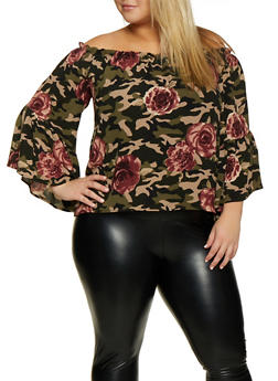 Plus Size Camo Floral Off the Shoulder Top - 3803058751851