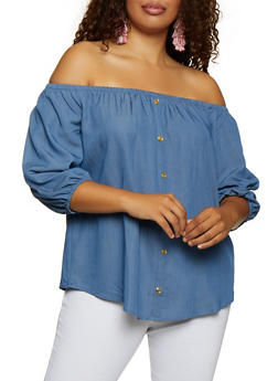 Plus Size Chambray Off the Shoulder Button Detail Top - 3803058751853