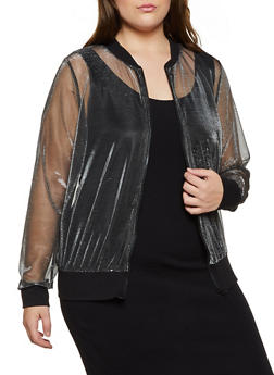 Plus Size Lurex Mesh Bomber Jacket - 3803058751882