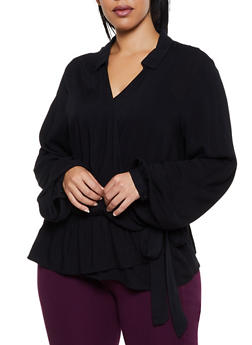 Plus Size Side Tie Faux Wrap Top - 3803058751902