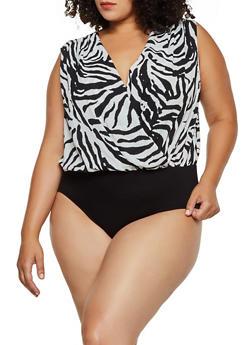Plus Size Animal Print Faux Wrap Bodysuit - 3803058751999
