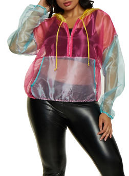 Plus Size Color Block Pullover Organza Windbreaker - 3803058753642
