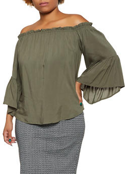 Plus Size Off the Shoulder Bell Sleeve Top | 3803058754048 - 3803058754048