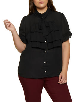 Plus Size Ruffled Short Sleeve Shirt - 3803058754156