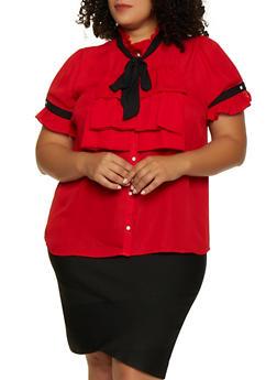 Plus Size Ruffled Short Sleeve Shirt - 3803058754156