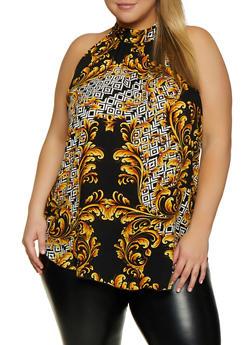 Plus Size Baroque Print Sleeveless Top - 3803058754186