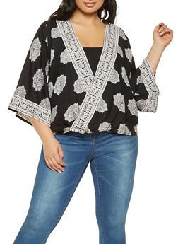 Plus Size Printed Faux Wrap Top - 3803061630018