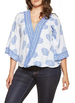 Plus Size Printed Faux Wrap Top - 3803061630018