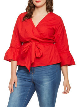 Plus Size Bell Sleeve Wrap Top - 3803061630185