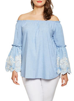 Plus Size Embroidered Sleeve Off the Shoulder Top - 3803061630331