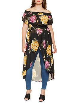 Plus Size Floral Off the Shoulder High Low Top - 3803061632066