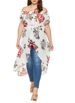 Plus Size Floral Off the Shoulder High Low Top - 3803061632066