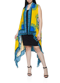 Plus Size Border Print Sleeveless Duster - 3803062120900