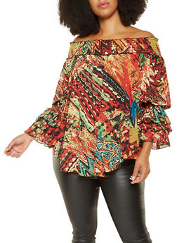 Plus Size Off the Shoulder Printed Top - 3803062121069