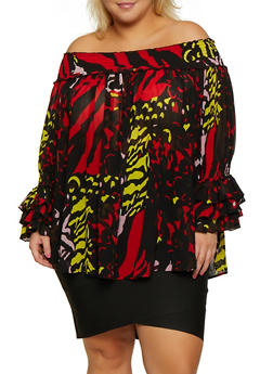 Plus Size Printed Off the Shoulder Bell Sleeve Top - 3803062121075