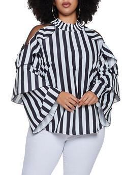 Plus Size Striped Mesh Shoulder Top - 3803062121151