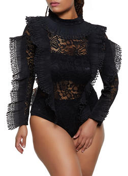 Plus Size Pleated Trim Lace Bodysuit - 3803062121296