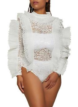 Plus Size Pleated Trim Lace Bodysuit - 3803062121296