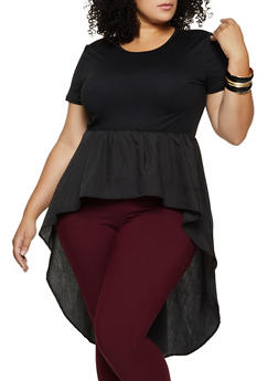 Plus Size Short Sleeve High Low Top - 3803062121356