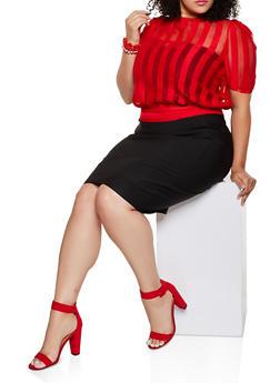Plus Size Shadow Stripe Tie Back Top - 3803062121372