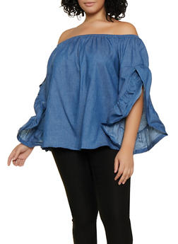 Plus Size Statement Sleeve Off the Shoulder Top - 3803062121385