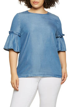 Plus Size Bell Sleeve Chambray Top - 3803062121490
