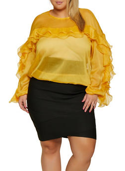Plus Size Ruffle Detail Top - 3803062121658