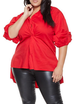 Plus Size Bubble Sleeve High Low Top - 3803062121925