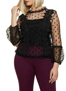 Plus Size Long Sleeve Polka Dot Mesh Top - 3803062122020