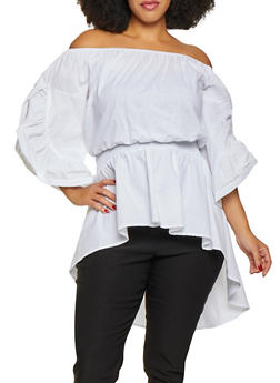 Plus Size Off the Shoulder High Low Peplum Top - 3803062122375