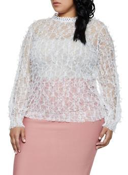Plus Size Lace Mock Neck Top | 3803062122398 - 3803062122398